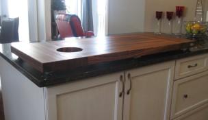 Étal de comptoir en bois zebrano