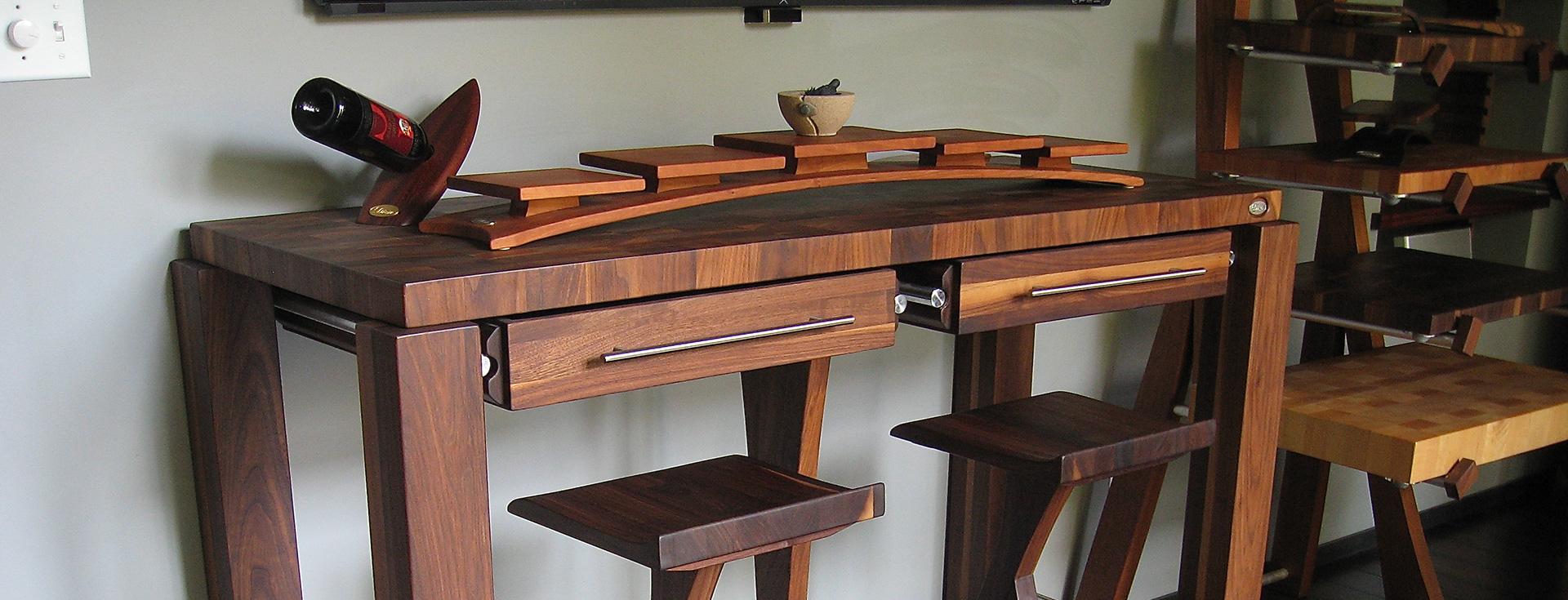 table comptoir bloc de boucher et il t en bois massif. Black Bedroom Furniture Sets. Home Design Ideas